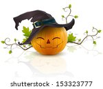 funny pumpkin with a hat on his ... | Shutterstock .eps vector #153323777