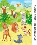 cute cartoon animals in forest | Shutterstock . vector #153340547