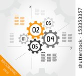 five orange infographic gears... | Shutterstock .eps vector #153353357