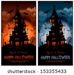 halloween night background with ... | Shutterstock .eps vector #153355433