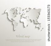 vector World map card paper 3D natural