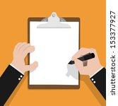 businessman hand filling... | Shutterstock .eps vector #153377927