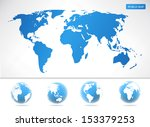 vector world maps and globes... | Shutterstock .eps vector #153379253