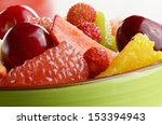ceramic cup with mixed fruit...   Shutterstock . vector #153394943