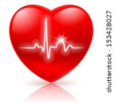 Shiny Red Heart With Cardiogra...