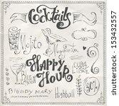 Hand Drawn Cocktails Doodles.