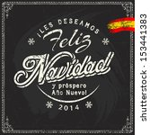 Spanish chalk lettering of christmas and new year sale discount offers and greetings on blackboard