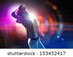 young girl listens to music.... | Shutterstock . vector #153452417