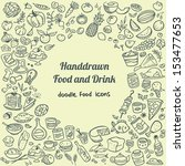 doodle food icons | Shutterstock .eps vector #153477653