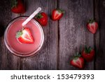 strawberry smoothie in glass... | Shutterstock . vector #153479393