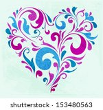 abstract floral heart | Shutterstock .eps vector #153480563