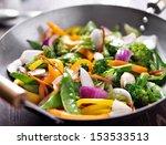 vegetarian wok stir fry | Shutterstock . vector #153533513