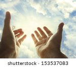 hands reaching for the sky | Shutterstock . vector #153537083