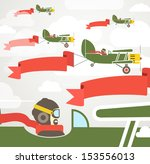 flying vintage group of planes... | Shutterstock .eps vector #153556013