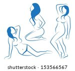 sketches of three female... | Shutterstock .eps vector #153566567