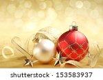 Christmas Balls With Ribbon On...