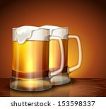 Mugs with foamy beer on a bright background
