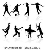 Sporting Silhouettes Illustration of various sporting athletes and competitors in silhouette.
