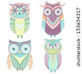 set of cute colorful owls owl | Shutterstock .eps vector #153654317