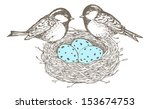 Nest With Eggs And Birds Are...