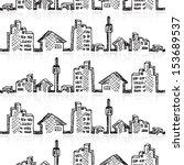 cityscape seamless sketch ... | Shutterstock .eps vector #153689537
