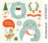 set of christmas and new year's ... | Shutterstock .eps vector #153703073