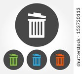 Colorful Trash Bin Vector Icon...