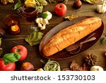 bread candles and fall leaves... | Shutterstock . vector #153730103