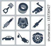vector car parts icons set   Shutterstock .eps vector #153730427