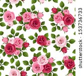 Stock vector vector seamless pattern with red and pink roses on white 153736733