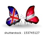 two butterflies with flags on... | Shutterstock . vector #153745127