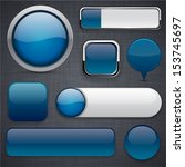 blank dark blue web buttons for ... | Shutterstock .eps vector #153745697