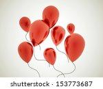 red balloons rendered on dark... | Shutterstock . vector #153773687