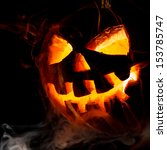 Stock photo halloween old jack o lantern on black background 153785747