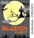 happy halloween card design.... | Shutterstock .eps vector #153812873