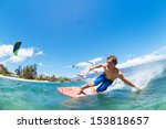 young man kiteboarding  fun in... | Shutterstock . vector #153818657
