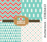 set of simple christmas patterns | Shutterstock .eps vector #153826613
