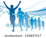 group of marathon runners on... | Shutterstock . vector #153857417