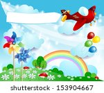 spring background with airplane ...