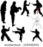 karate fighters   vector | Shutterstock .eps vector #153930353