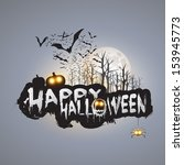 happy halloween card template   ... | Shutterstock .eps vector #153945773