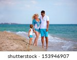 happy family on vacation  sea... | Shutterstock . vector #153946907