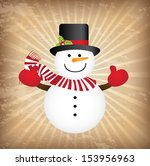 snowman design over grunge  background vector illustration