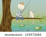 boy and cat sitting on tree...   Shutterstock .eps vector #153972083