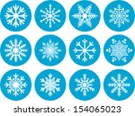 set of abstract snowflakes | Shutterstock .eps vector #154065023