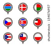 set of map flag icon  vector  | Shutterstock .eps vector #154076957