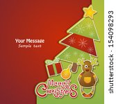 merry christmas card with... | Shutterstock .eps vector #154098293