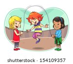 skipping jump play. a group of... | Shutterstock .eps vector #154109357