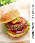 home made burger made with pure ... | Shutterstock . vector #154120343