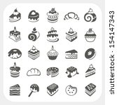 cakes and dessert icons set   Shutterstock .eps vector #154147343